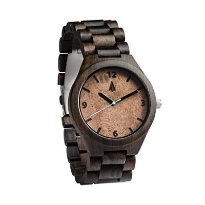 Treehutメンズブラックエボニー+ウォールナットBurl Wooden Watch withすべて木製ストラップクォーツアナログwith品質Miy