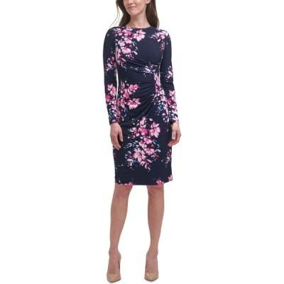 ハーパーローズ HARPER ROSE レディース ボディコンドレス タイト ミドル丈 ワンピース・ドレス Floral-Print Bodycon Midi Dress Navy