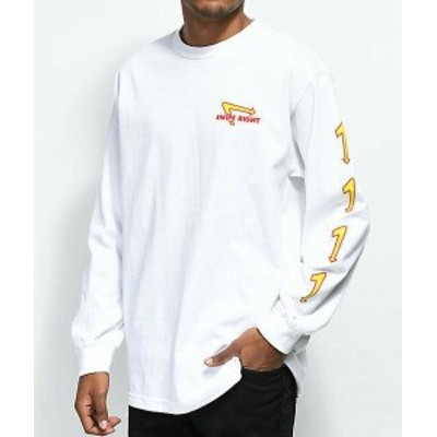 Made  ファッション トップス Made In Paradise Swipe Right White Long Sleeve T-Shirt Skate Wear Top AUTHENTIC