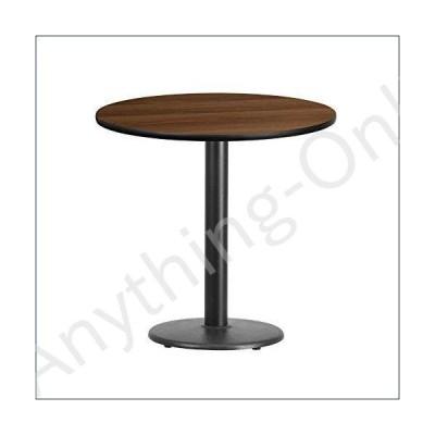 ★新品★Flash Furniture 30'' Round Walnut Laminate Table Top with 18'' Round Table Height Base【並行輸入品】