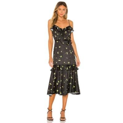 ミリー MILLY レディース ワンピース ワンピース・ドレス Cherry Print Stretch Satin Petal Dress Black Yellow Multi