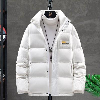 ジャケット メンズ ダウンジャケット ダウンコート ウインタージャケット 冬服 ダックダウン フード付き ブラック ホワイト キルティング 保温 厚