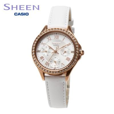 CASIO カシオ レディース 腕時計 SHEEN シーン SHE-3062PGL-7A アナログ ホワイト ローズゴールド スワロフスキー 曜日 日付表示