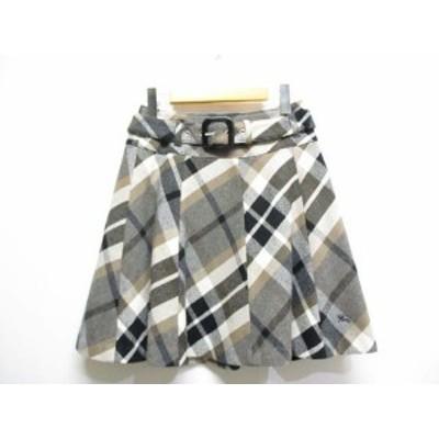 【中古】バーバリーブルーレーベル 美品 チェック柄 ウール フレア スカート ベルト付き 38 グレー系 裾ホース刺繍