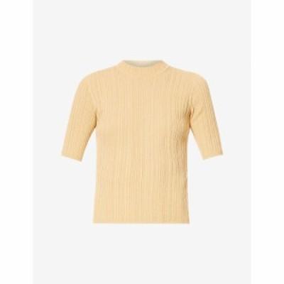 ヴィンス VINCE レディース ニット・セーター トップス Ribbed cotton-knit top Sesame/chamomile-sec