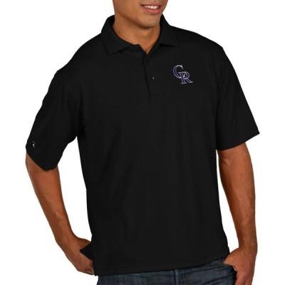 アンティグア Antigua メンズ ポロシャツ トップス Colorado Rockies Pique Black Performance Polo