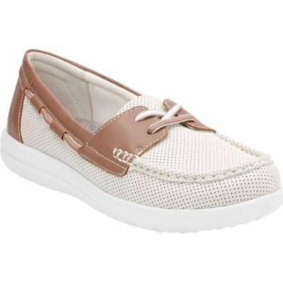 クラークス レディース スニーカー シューズ Women's Clarks Jocolin Vista Boat Shoe Off White Perforated Textile