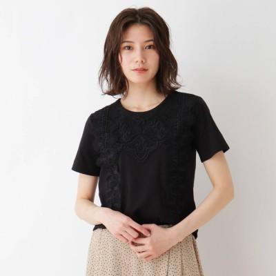シューラルー SHOO-LA-RUE フロントレースTシャツ (ブラック)