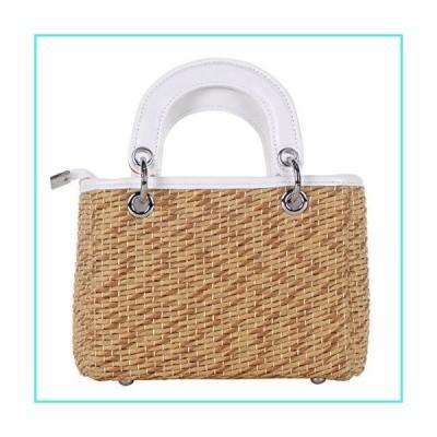 【新品】QZUnique Women's Summer Beach Straw Handbag Single Shoulder Bag Solid Straw Tote(並行輸入品)