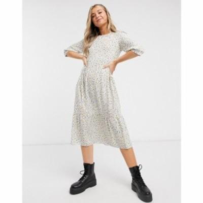ノーバディーズ チャイルド Nobodys Child レディース ワンピース ミドル丈 ワンピース・ドレス Midi Smock Dress With Puff Sleeves In
