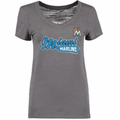 Soft as a Grape ソフト アズ ア グレープ スポーツ用品  Soft as a Grape Miami Marlins Womens Charcoal Multi Count V-Neck T-Shirt