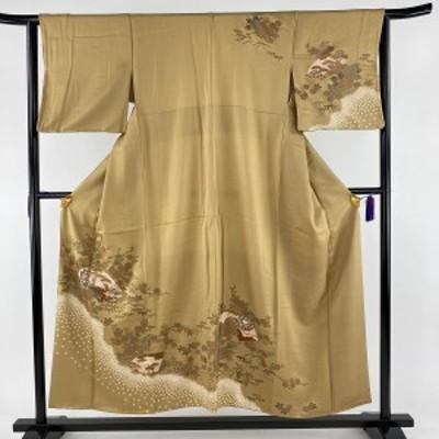 訪問着 秀品 扇面 草花 金彩 絞り 黄土色 袷 身丈154cm 裄丈61.5cm S 正絹 中古