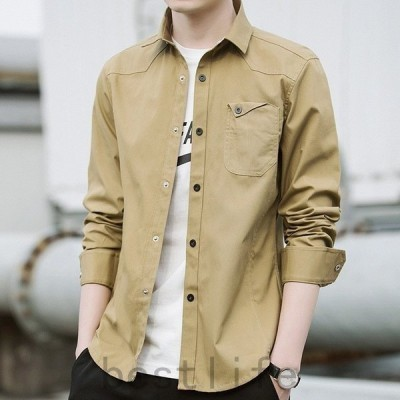 シャツメンズカジュアルシャツワイシャツ開襟シャツ無地薄手長袖フラップ付きポケット大きいサイズありシンプル春秋