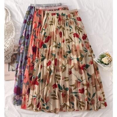 プリーツデイジー柄スカート  レディース トレンド 人気 可愛い 夏 おしゃれ デイジー柄 花柄 L103-0132