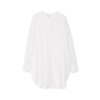 【フリーズマート】 《Sシリーズ対応商品》スタンドネックロングチュニックシャツ レディース ホワイト M FREE'S MART