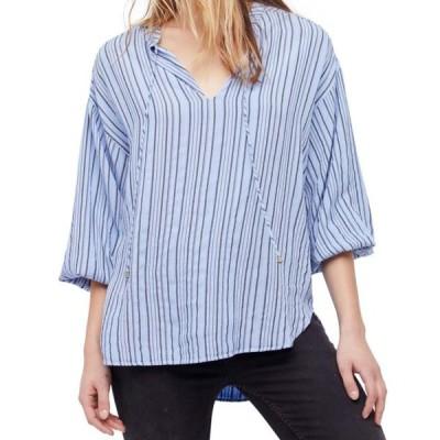 レディース 衣類 トップス Womens Large Striped Split Neck Blouse L ブラウス&シャツ