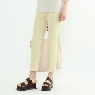 インディヴィ INDIVI 「S」【褒められパンツ/STYLE UP PANTS】麻混ストレッチテーパードパンツ (レモンイエロー)
