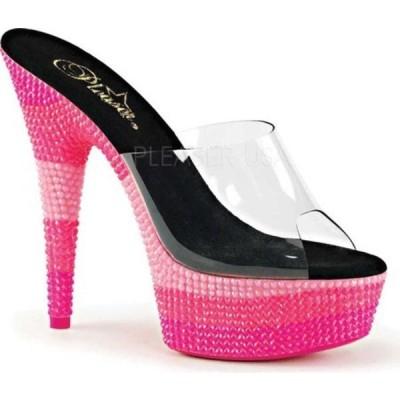 プリーザー サンダル シューズ レディース Delight 601UVS Platform Slide (Women's) Clear PVC/Neon Multi Hot Pink