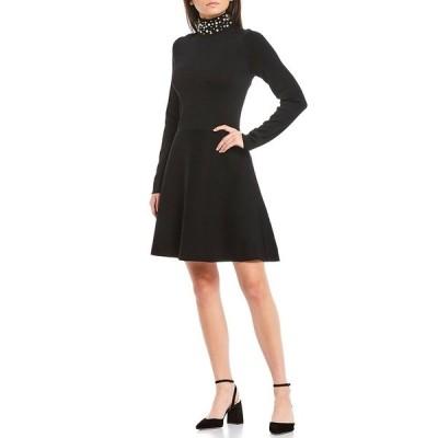 エリザジェイ レディース ワンピース トップス Pearl Mock Neck Long Sleeve A-Line Dress Black