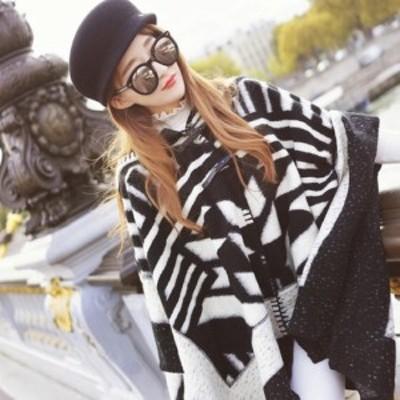 ポンチョ アウター レディース 秋 冬 物 長袖 黒 色 韓国 ファッション 大人 10代 20代 30代 フード 付き 柄 OU-0060