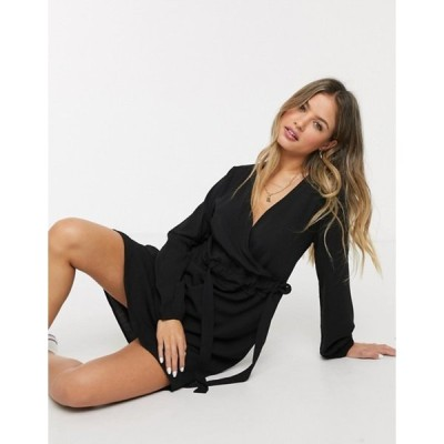 ジェイディーワイ レディース ワンピース トップス JDY wrap mini dress in black