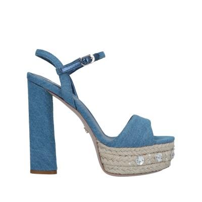 レ・シーラ LE SILLA サンダル ブルー 39 紡績繊維 / 革 サンダル
