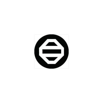 家紋シール 隅切り角に二つ引き紋 直径24cm 丸型 白紋 KS24M-0998W