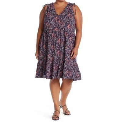 カスロン レディース ワンピース トップス V-Neck Print Tank Dress (Plus Size) NAVY- CORAL PAINTED RAIN