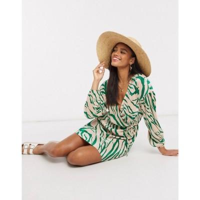 エイソス ASOS DESIGN レディース ワンピース ラップドレス ミニ丈 ワンピース・ドレス Plisse Mini Dress Wrap Belted In Green Abstract Print