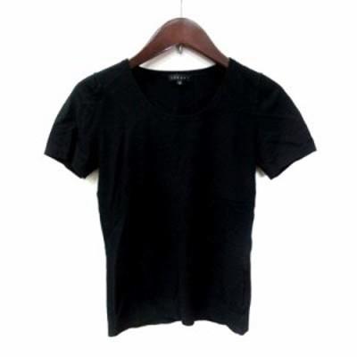 【中古】セオリー theory カットソー Tシャツ 半袖 クルーネック 2 黒 ブラック /YI レディース