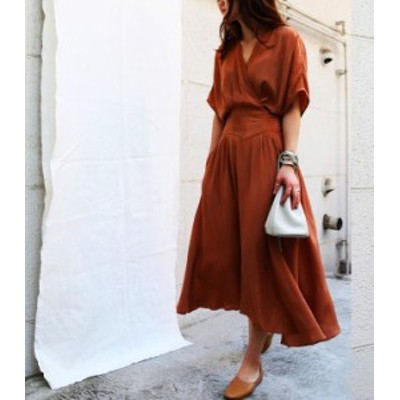 韓国 ファッション レディース ワンピース ロング Vネック フレア カシュクール ハイウエスト 半袖 シンプル 大人可愛い カジュアル