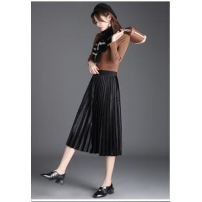 春新作 プリーツスカート 体型カバー ベロア素材 タイト 綺麗め 大人カジュアル 大人可愛い 大きいサイズ ブラック ブラウン ネイビー