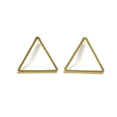 【2個(1ペア)】SV925刻印あり!Medium三角形(Triangle)マッドゴールドピアス、ポスト