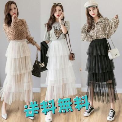 2019年夏の新作 メッシュプリーツ ロングスカート 妖精のスカート 韓国ファッション シフォンスカート