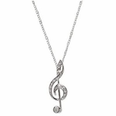 Silver Toned Treble Clef Pendant Necklace