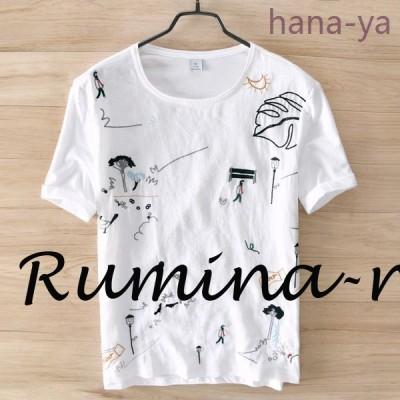Tシャツメンズ半袖TシャツリネンTシャツ綿麻刺繍Tシャツ半袖薄手涼しい夏物新作