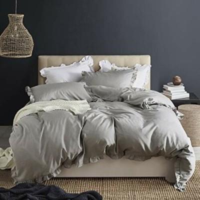 HOTNIU 布団カバー 4点セット セミダブル 掛け布団カバー かわいい フリル付き ベッドカバー 洋式・和式兼用 寝具カバーセット ピーチス