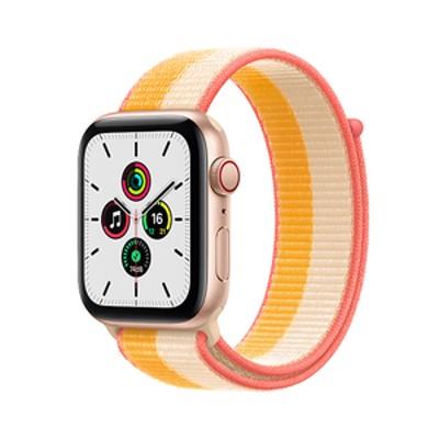 Apple Apple Watch SE(GPS + Cellularモデル)- 44mm ゴールドアルミニウムケースとメイズ/ホワイトスポーツループ MKT23JA