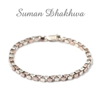 スーマンダックワ ブレス Suman Dhakhwa コンビ ベネチアンチェーン ブレスレット シルバー 銅 木目金 Combi Venetian Chain Bracelet Silver Copper MOKUMEGANE