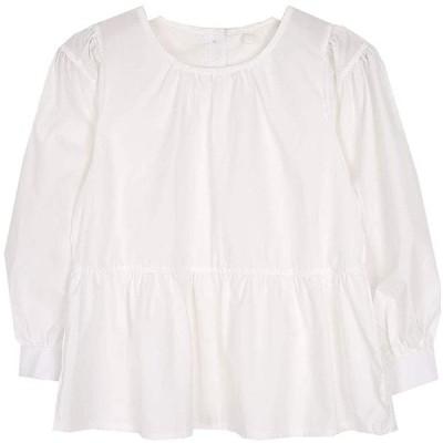 REALCOCO Womens Blouse スウィーティーパフブラウス(秋ver)Freeサイズ White GrayBlue (WHITE, FR