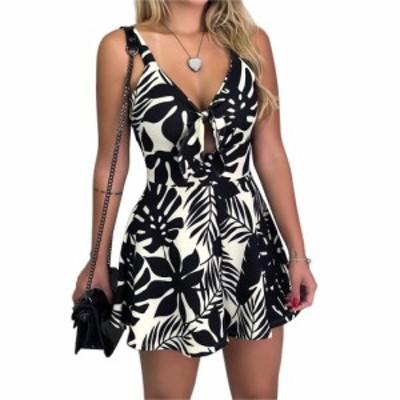 女性ファッションセクシーなVネックちょう結び印刷スリング夏ジャンプスーツロンパース