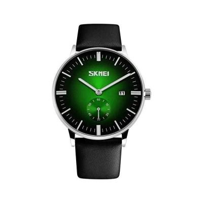 Fanmisファッションクォーツブラックレザーストラップカレンダースポーツアナログメンズ腕時計グリー