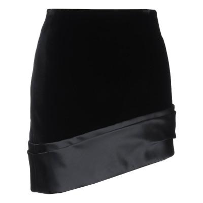 SAINT LAURENT ミニスカート ブラック 36 レーヨン 65% / キュプラ 35% / シルク ミニスカート