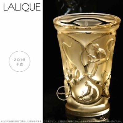 ラリック クリスタル 申 サル ゴールド ベース 花瓶 モンキー 10491000 Lalique Singes Monkey Vase, Gold Luster □