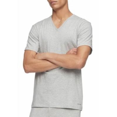 カルバンクライン メンズ Tシャツ トップス Cotton Classics Short Sleeve V Neck T-Shirt MP1 1GR HTHR 1W