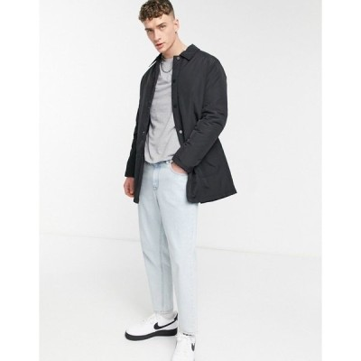 エイソス メンズ コート アウター ASOS DESIGN padded trench coat with quilted lining in black Black