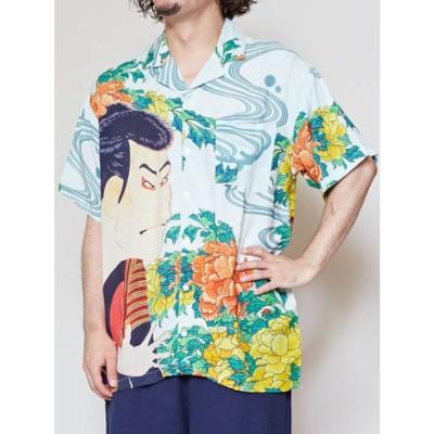 【カヤ】浮世絵 和ロハメンズシャツ ホワイト