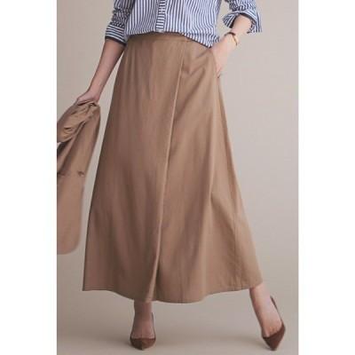 スカート IEDIT リネン混素材で上質にこなれる すっきりシルエットのラップ風Aラインロングスカート