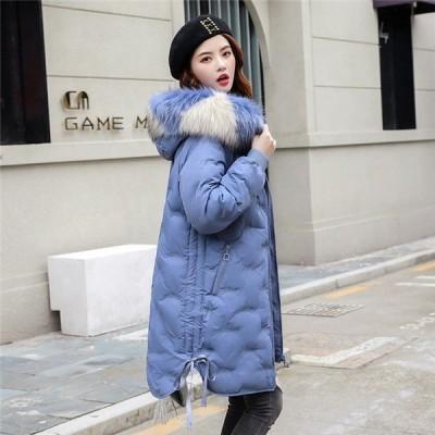 中綿ダウンジャケット レディース ロングコート 冬服 カジュアル ゆったり ダウンジャケット ダウンコート 厚手 フード付き 暖かい アウター 防風 防寒