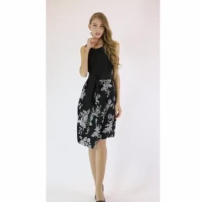 夏 ワンピース ノースリーブ ドレス 安い 可愛い 大人  花柄 モダン 綺麗め 膝丈 OL 通勤 オフィス フレアスカート